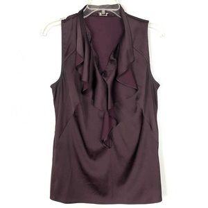 Ann Taylor Merlot Sleeveless Ruffled Top Size 10
